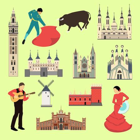 Karikatur-Spanien-Symbole und -gegenstände eingestellt. Spanische Landmarken für Design. Spanische Attraktion. Reise und Tourismus. Standard-Bild - 84132418