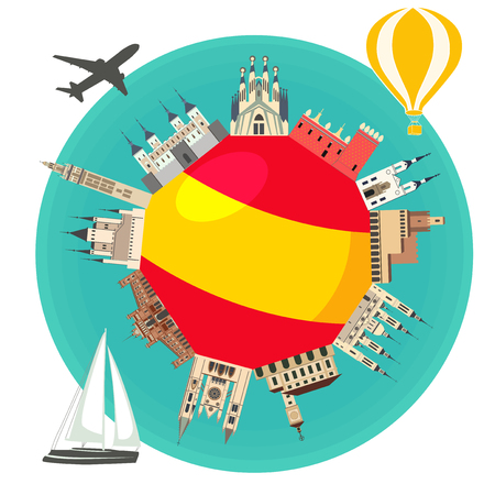 The famous landmarks of the flag of Spain. Spanish attraction. Travel and tourism. Illustration