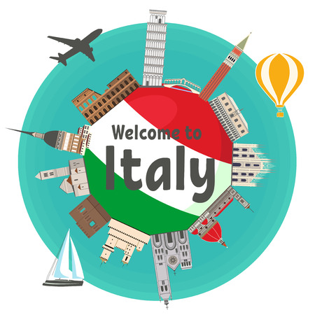 Italian famous landmarks around the flag of country with text