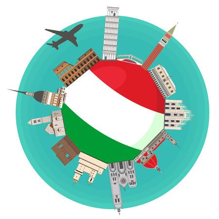 Die berühmten Wahrzeichen der Flagge von Italien. Italienische Attraktion. Reisen und Tourismus. Standard-Bild - 84132397