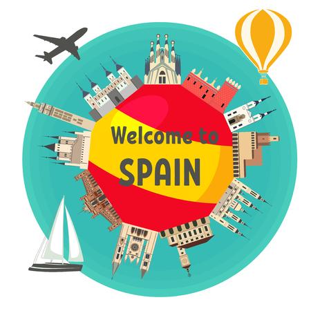 """텍스트 """"스페인에 오신 것을 환영합니다""""스페인의 국기 주위 스페인어 유명한 랜드 마크. 스페인어 매력. 여행 그리고 관광. 일러스트"""