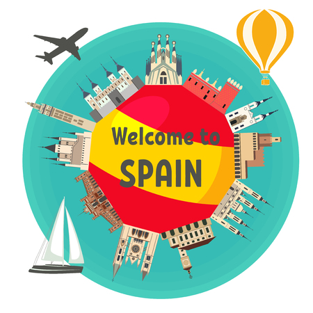 "Spanish famous landmarks around the flag of Spain with text ""Welcome to Spain"". Spanish attraction. Travel and tourism."