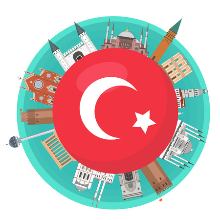 Famous landmarks of the flag of Turkey.