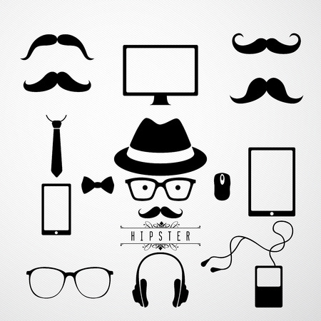 moleskin: Hipster speech bubble with icons - Illustration