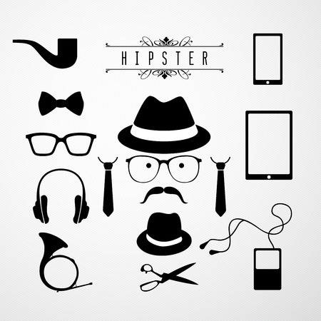 Hipster speech bubble with icons - Illustration