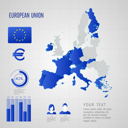 European flag  World Map  Travel vector Illustration  Vector
