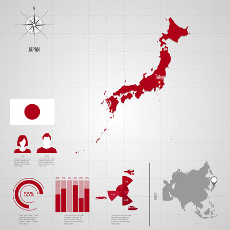 japan: Republic of JAPAN. flag. Asia. World Map. Travel vector Illustration