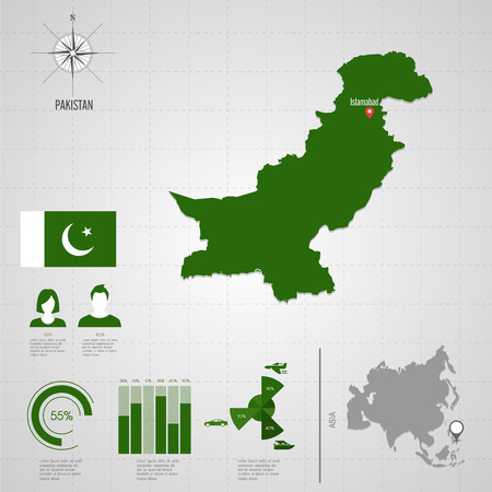 pakistan flag: Republic of PAKISTAN. flag. Asia. World Map. Travel vector Illustration