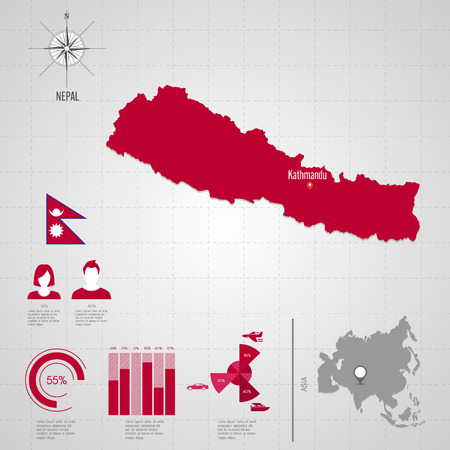 Republic Of NEPAL. Flag. Asia. World Map. Travel Vector Illustration ...