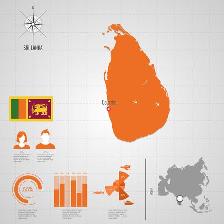Republic Of SRI LANKA Flag Asia World Map Travel Vector Royalty Free ...