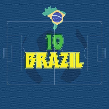 BRAZIL vector illustration, map with soccer ball Vector