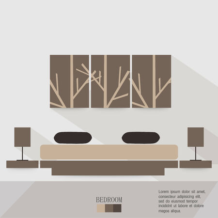 Master Bedroom with Bed Dresser Furniture and Fittings Long Shadows Vector
