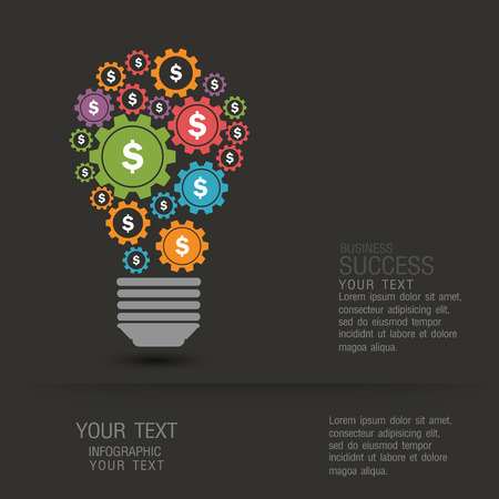hilight: Business infographic concept by a light bulb