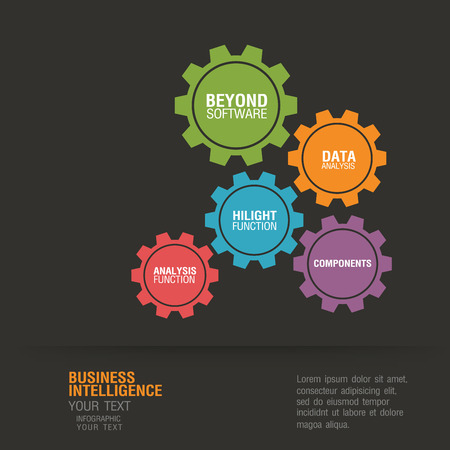 Business infographic concept by gears