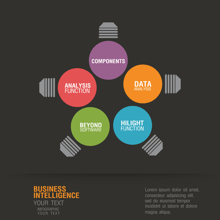 hilight: Business infographic concept by light bulbs