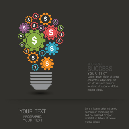 hilight: Business infographic concept by a light bulb and gears