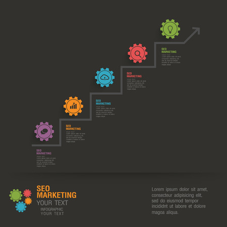 flat infographic business by gears Illustration