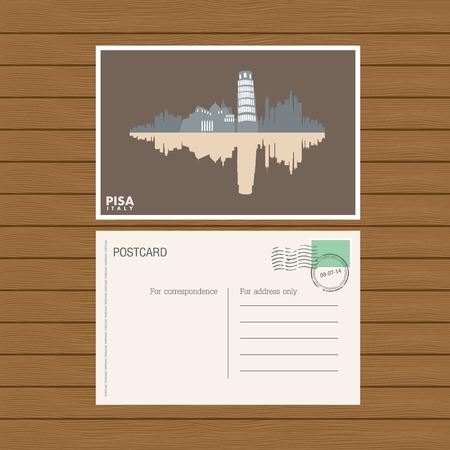 postcard back: postcard. Vector illustration