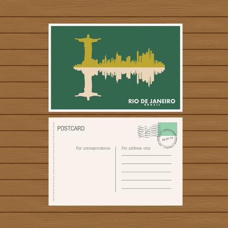postmarked: postcard. Vector illustration