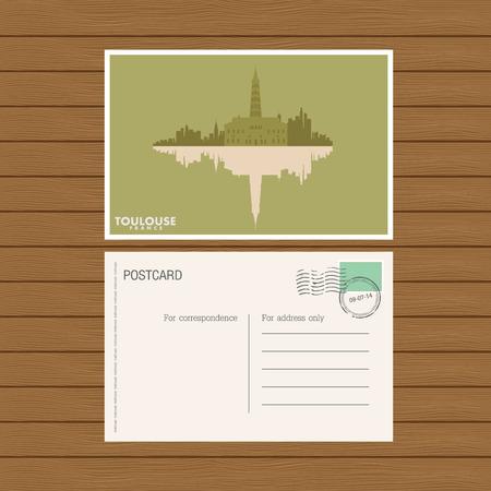 toulouse: postcard  Vector illustration