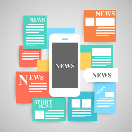 reading news: Newspaper vector set.