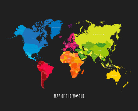 topographic map: World map with different colored continents - Illustration
