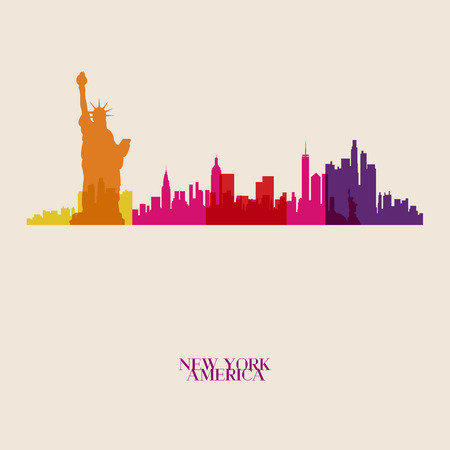 new york silhouette: Vector silhouettes of the city