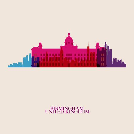 birmingham: Vector silhouettes of the city