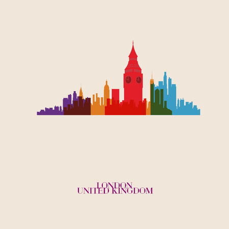 london skyline: Vector silhouettes of the city