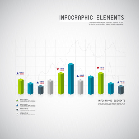 financial graph: Set of different graphs and charts  Illustration
