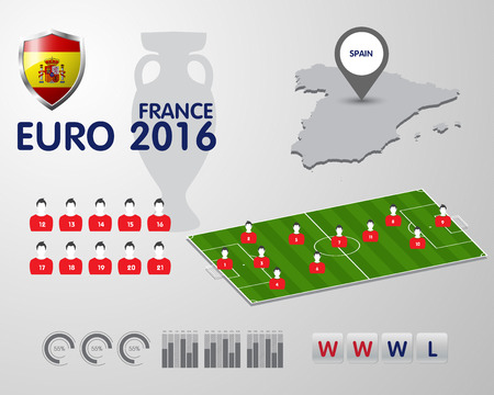 europa: Soccer Championship 2016 EURO infographic elements, football vector background