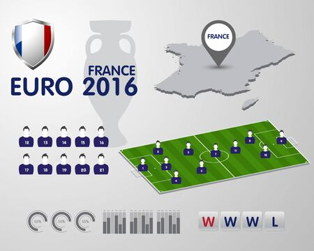 elimination: Soccer Championship 2016 EURO infographic elements, football vector background