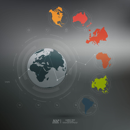 the continents: World map with different colored continents - Illustration