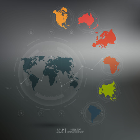 continents: World map with different colored continents - Illustration