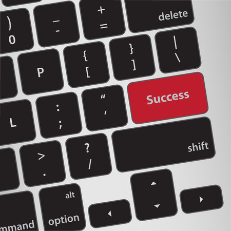 computer keyboard: Education concept: Success on computer keyboard background Illustration