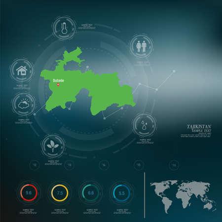 tajikistan: TAJIKISTAN map infographic