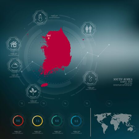 SÜDKOREA Karte Infografik Vektorgrafik