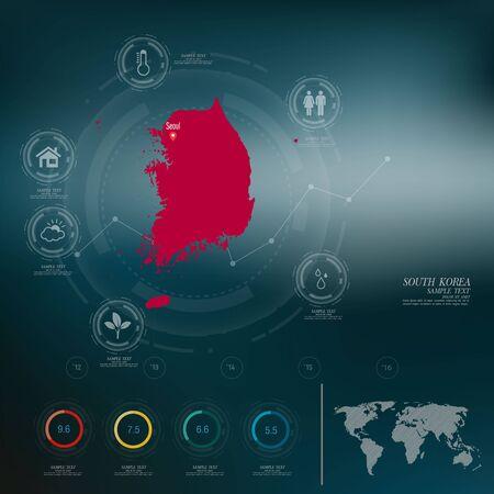SOUTH KOREA carte infographique Vecteurs