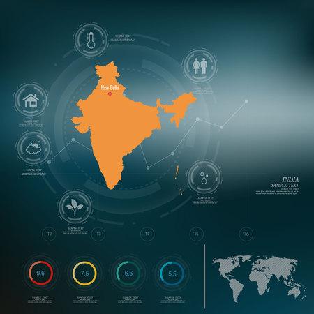 bandera de la india: INDIA mapa infografía Vectores