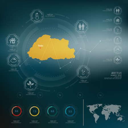 bhutan: BHUTAN map infographic
