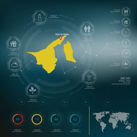 map of brunei: BRUNEI map infographic Illustration