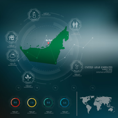 united arab emirates: UNITED ARAB EMIRATES map infographic