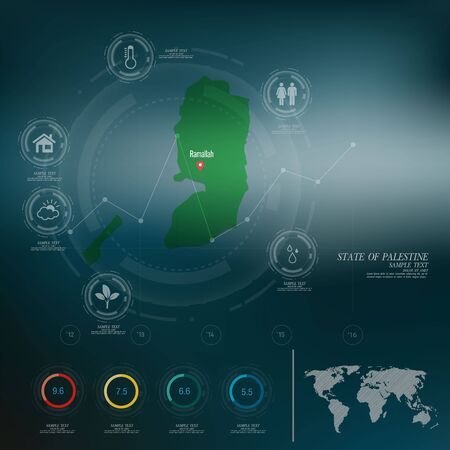 palestine: STATE OF PALESTINE map infographic