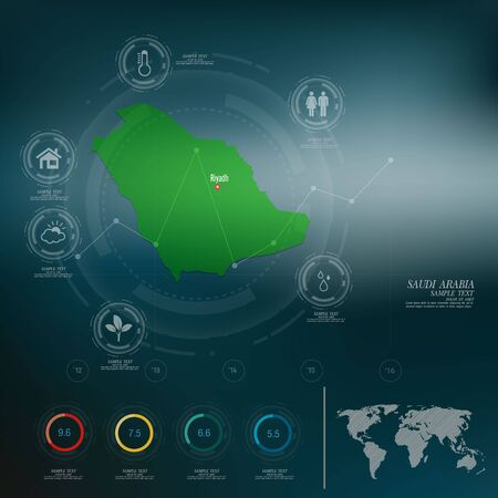 saudi arabia: SAUDI ARABIA map infographic Illustration