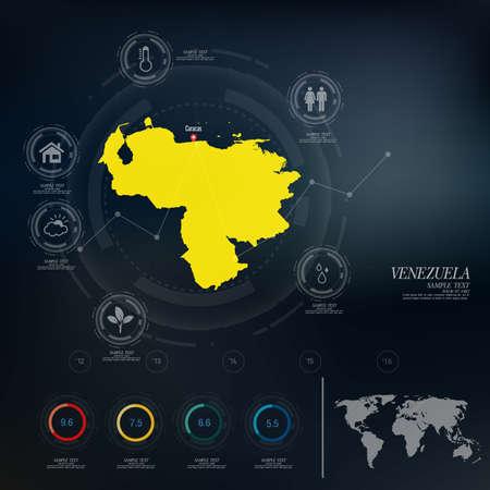 mapa de venezuela: VENEZUELA mapa infograf�a Vectores