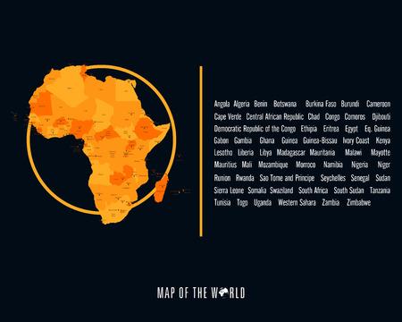 Wereldkaart met verschillende gekleurde continenten - Illustratie