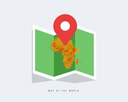 Carte du monde avec différents continents couleur - Illustration