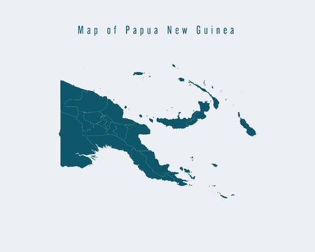 federal states: Modern Map - Papua New Guinea with federal states