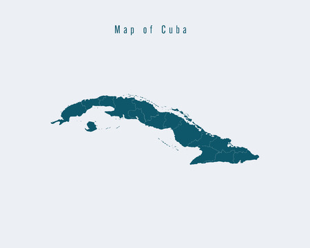 federal states: Modern Map - Cuba with federal states Illustration