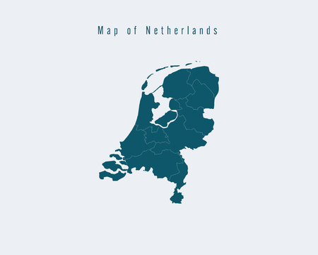 federal states: Modern Map - Netherlands with federal states Illustration
